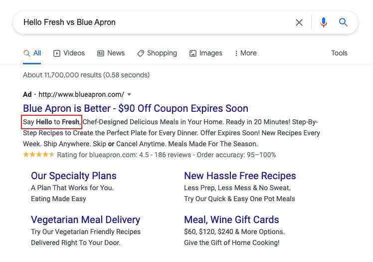 Comparison brand ads in Google Ads search results