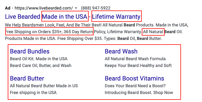 Google Ads brand ad for Live Bearded