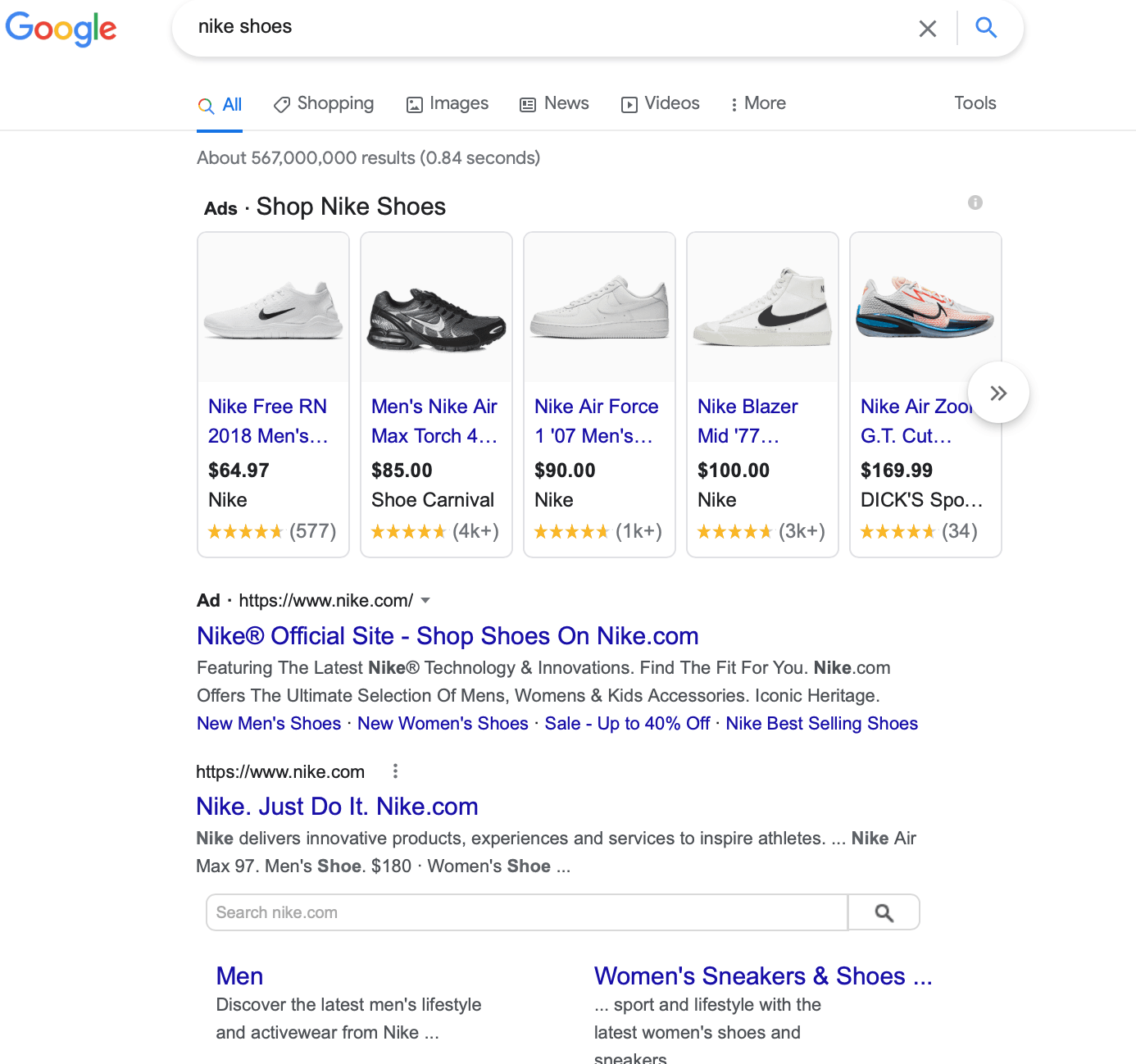 Nike search results page for them bidding on their own brand keyword