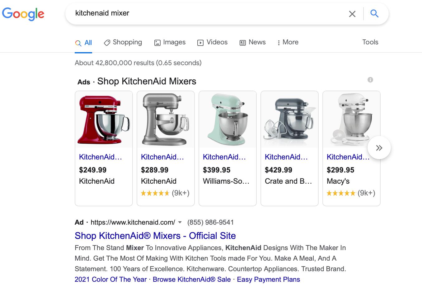 KitchenAid bidding on a product keyword