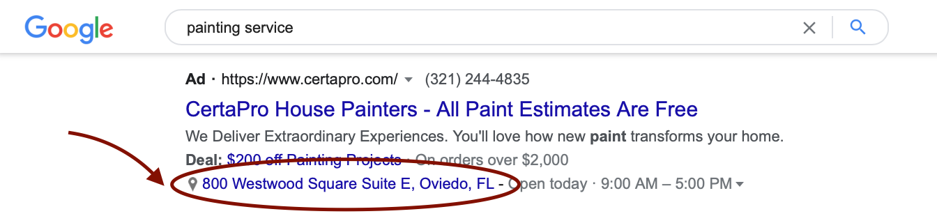 google ad location extensions