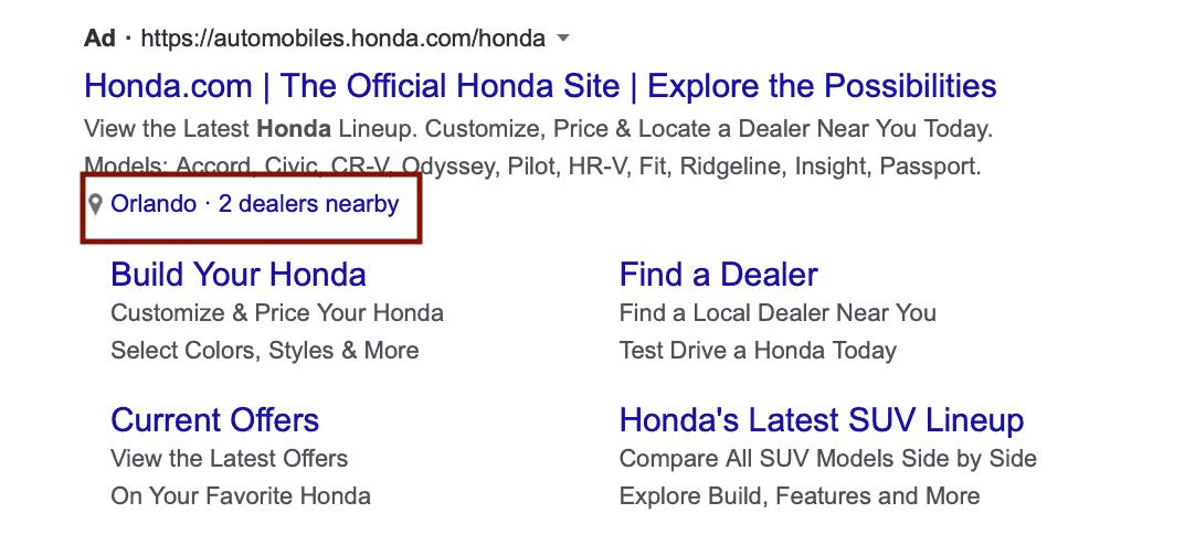 Google ad affiliate location extension
