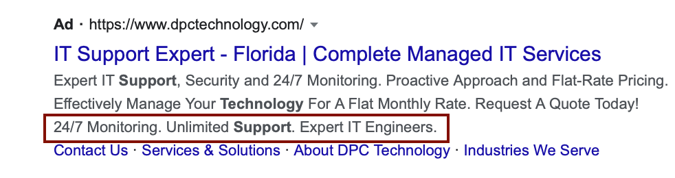 google ad callout extensions