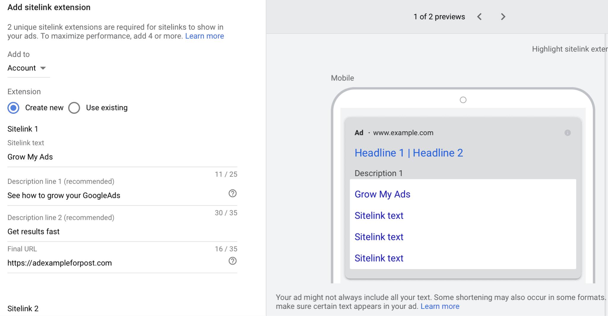 sitelink extension google ads set up