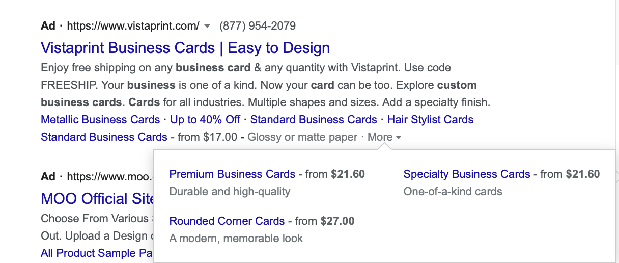 Google ads price extensions