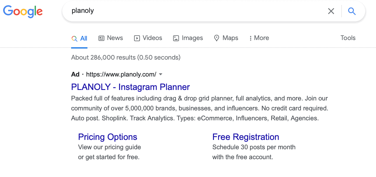 """bidding on own keywords Google Ads search results from """"planoly"""""""