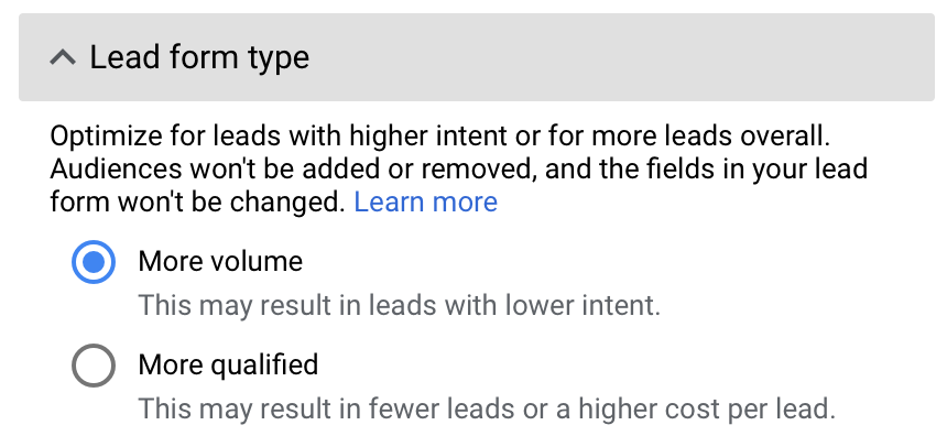 lead form type in Google Ads lead forms