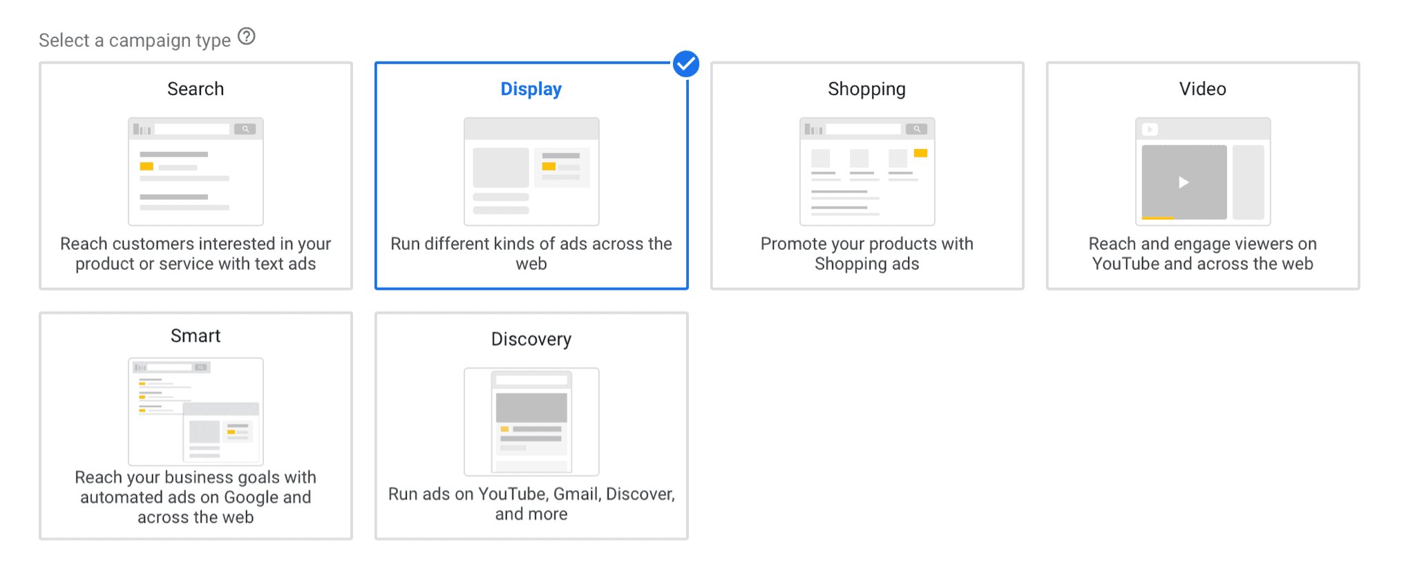 """Selecting """"Display"""" for Google ads Format"""