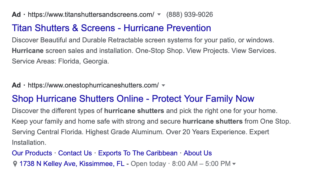 Google search ads promoting USP