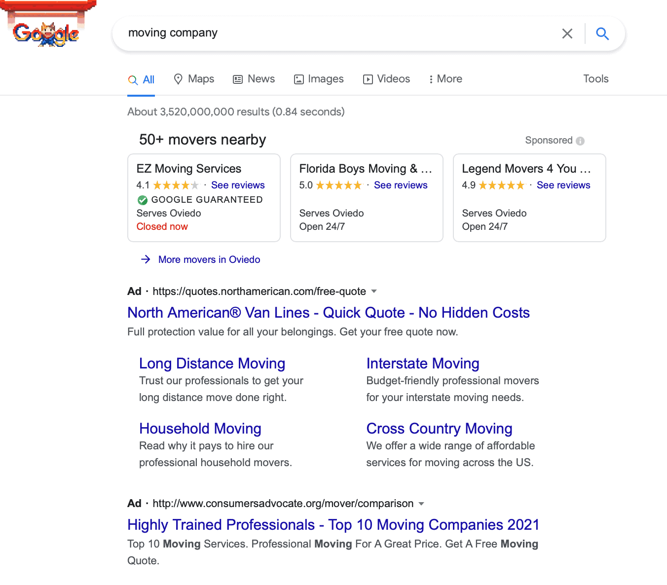 Google search results showing different ads