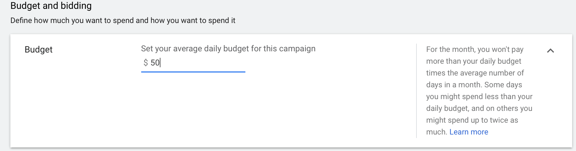 Google Ads budget in campaign manager