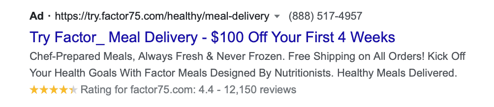 Google search ad highlighting promotion in headline