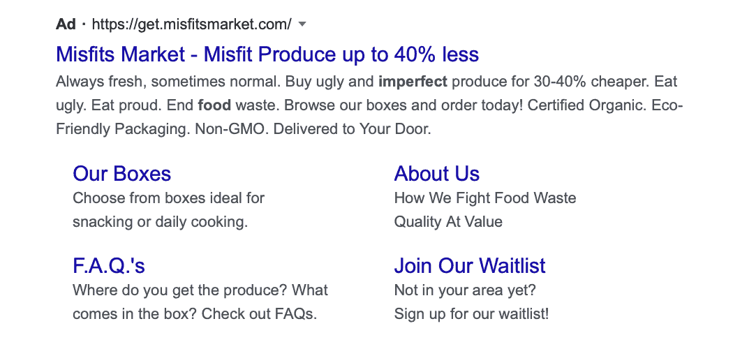 Google search ad strategy showing multiple landing pages for an ad