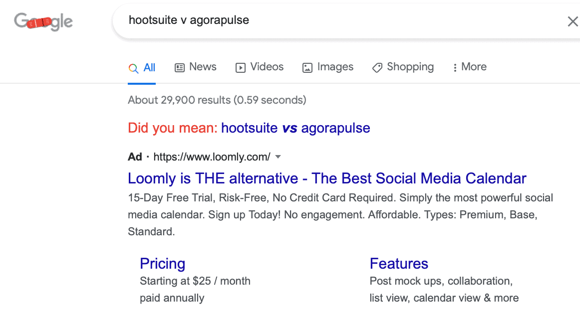 Google search ad strategy targeting comparison keywords