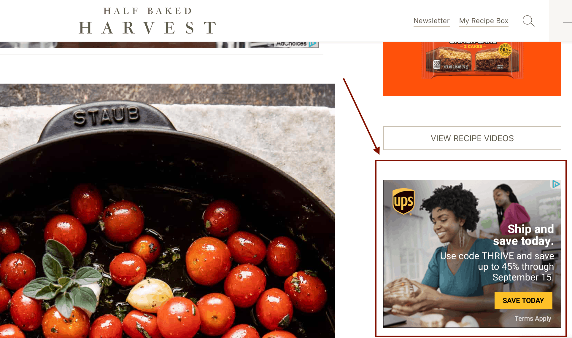 UPS Google responsive display ad on a third-party site